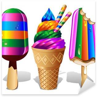 Pixerstick para Todas Superfícies Ice Cream Ice Lolly Rainbow Colors - Gelato colori Arcobaleno