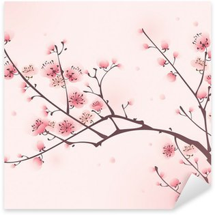Pixerstick para Todas Superfícies Oriental style painting, cherry blossom in spring