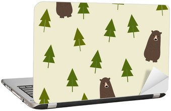 Adesivo para Notebook Bear and forest seamless background.