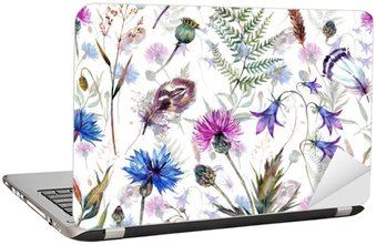 Adesivo para Notebook Flores silvestres desenhadas mão da aguarela