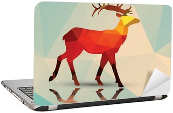 Adesivo para Notebook Geometric polygonal deer, pattern design, vector