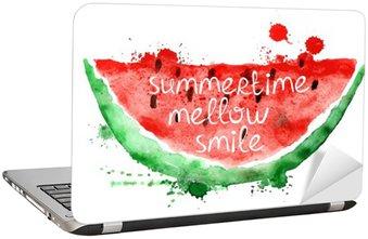 Adesivo para Notebook Ilustração da aguarela com fatia de melancia.
