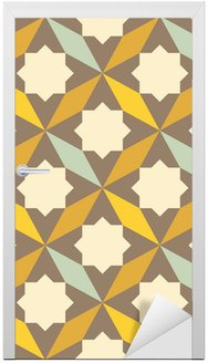 Adesivo para Porta abstract retro geometric pattern