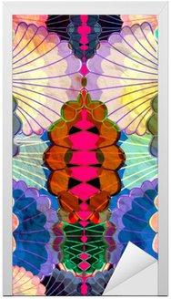 Adesivo para Porta Aquarela elementos abstratos coloridos