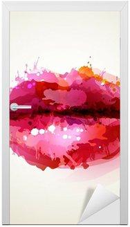 Adesivo para Porta Beautiful womans lips formed by abstract blots