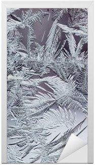 Adesivo para Porta Belo padrão gelado do inverno feito de cristais transparentes frágeis no vidro