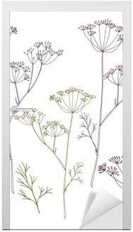 Adesivo para Porta Dill ou flores de funcho e folhas.