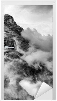 Adesivo para Porta Dolomites Mountains Black and White