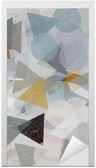 Adesivo para Porta Geometric shapes illustration. Brush paint pattern.