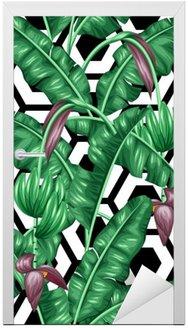 Adesivo para Porta Seamless com folhas de bananeira. Imagem decorativa de vegetação tropical, flores e frutos. Fundo feito sem máscara de corte. Fácil de usar para pano de fundo, têxtil, papel de embrulho