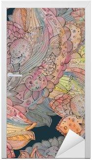 Adesivo para Porta Textura sem emenda da forma com teste padrão floral abstrato. watercolo
