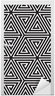 Adesivo para Porta Triangles, Black and White Abstract Seamless Geometric Pattern,