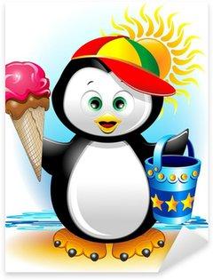 Pixerstick para Todas Superfícies Pinguino cartoon Gelato e Spiaggia-Penguin at the Beach-Vector