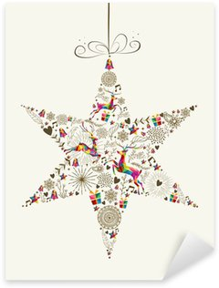 Pixerstick para Todas Superfícies Vintage Christmas star bauble greeting card