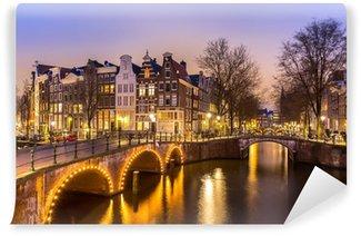 Afwasbaar Fotobehang Amsterdamse grachten