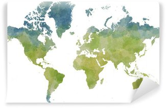 Afwasbaar Fotobehang Cartina mondo, disegnata illustrata pennellate