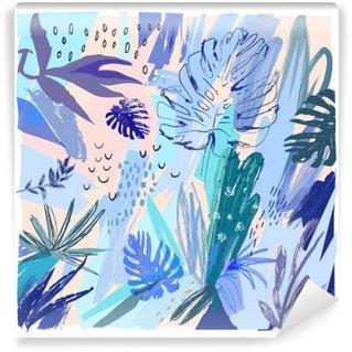 Afwasbaar Fotobehang Creative universele bloemen header in tropische stijl. Hand Getrokken textuur. Vector