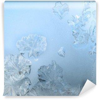 Afwasbaar Fotobehang Frosty patroon op een winter venster glas