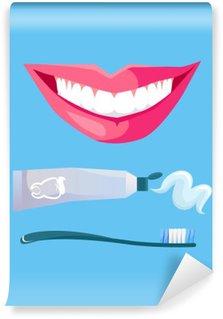 Afwasbaar Fotobehang Glimlach met witte tand