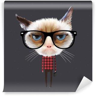 Afwasbaar Fotobehang Grappige cartoon kat, vectoreps10 illustratie.