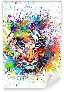 Afwasbaar Fotobehang Heldere achtergrond met tijger
