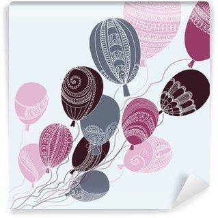 Afwasbaar Fotobehang Illustratie met kleurrijke vliegende ballonnen