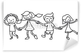 Canvas Kinderen, vriendschap, kleurplaat • Pixers® - We leven om ...