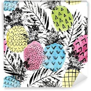 Afwasbaar Fotobehang Kleurrijke ananas met waterverf en grunge texturen naadloos patroon