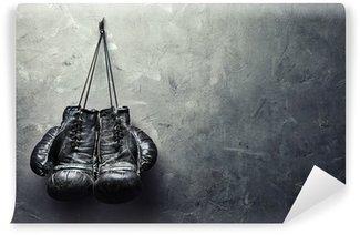 Afwasbaar Fotobehang Oude bokshandschoenen hangen op spijker op textuurmuur