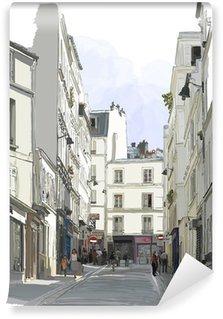Afwasbaar Fotobehang Straat in de buurt van Montmartre in Parijs