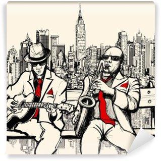 Afwasbaar Fotobehang Twee jazz mannen spelen in New York