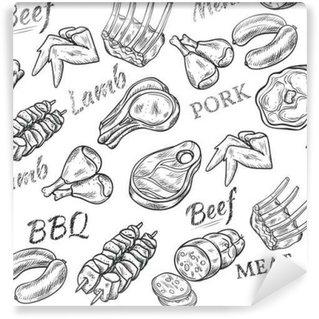 Afwasbaar Fotobehang Vlees Sketch Naadloos Patroon