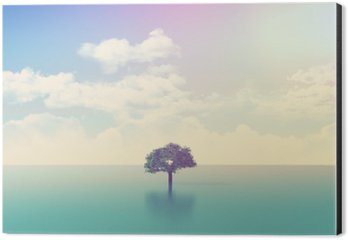 Aluminium Print (Dibond) 3D ocean scene with tree with retro effect