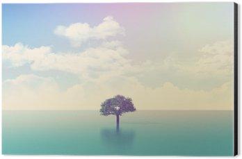 Aluminium Print (Dibond) 3D ocean scene with tree with retro effect