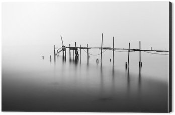Aluminium Print (Dibond) A Long Exposure of an ruined Pier in the Middle of the Sea.Processed in B&W.