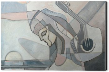 Aluminium Print (Dibond) Abstract Painting With Woman and Guitar