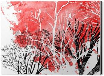 Aluminium Print (Dibond) Abstract silhouette of trees