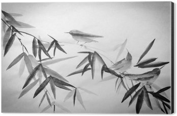bamboo and three birdies branch Aluminium Print (Dibond)