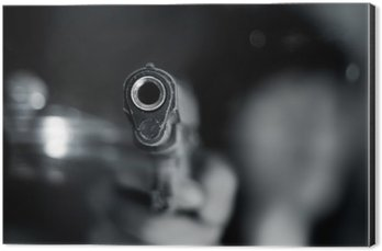 Aluminium Print (Dibond) Black and white, woman pointing old gun in hand