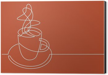 continuous line drawing of cup of coffee Aluminium Print (Dibond)