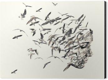 Aluminium Print (Dibond) Double exposure portrait of young women and seagulls.