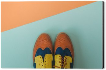 Aluminium Print (Dibond) Flat lay fashion set: colored vintage shoes on colored background. Top view.
