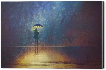 Aluminium Print (Dibond) lonely woman under umbrella lights in the dark,digital painting