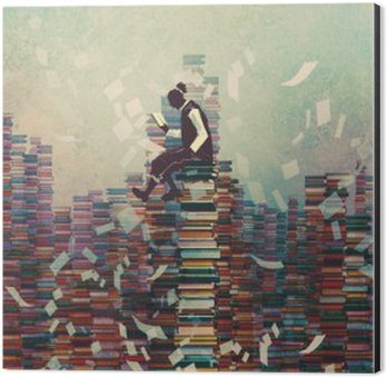 Aluminium Print (Dibond) man reading book while sitting on pile of books,knowledge concept,illustration painting