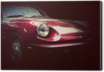 Retro classic car on dark background. Vintage, elegant Aluminium Print (Dibond)