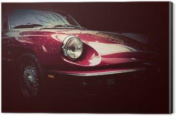 Retro classic car on dark background. Vintage, elegant Aluminium Print (Dibond)