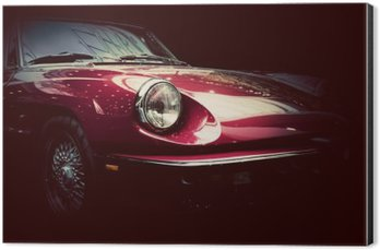 Aluminium Print (Dibond) Retro classic car on dark background. Vintage, elegant