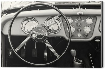 Aluminium Print (Dibond) Steering wheel and dashboard in historic vintage car