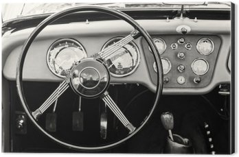 Steering wheel and dashboard in historic vintage car Aluminium Print (Dibond)