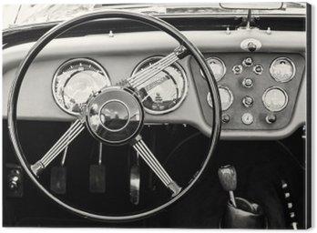 Aluminium Print (Dibond) Steering wheel and dashboard in historic vintage car